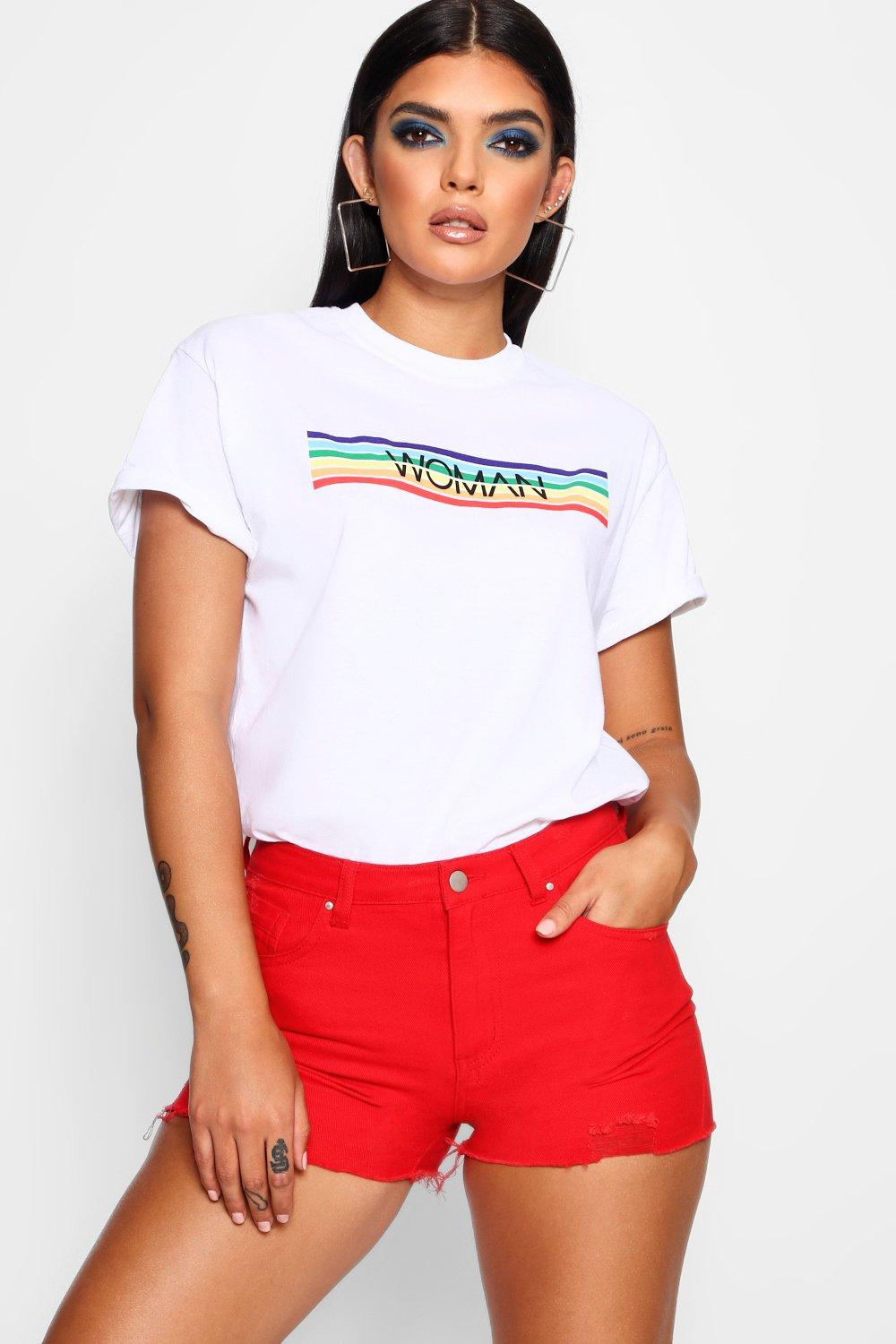 e14d345738 Womens White Woman Rainbow Stripe Block T-Shirt. Hover to zoom