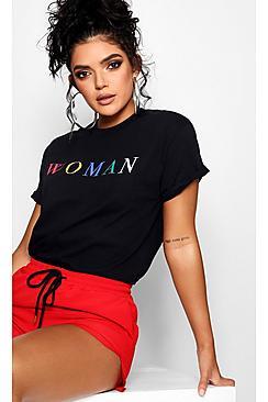 Woman Rainbow Slogan T-Shirt