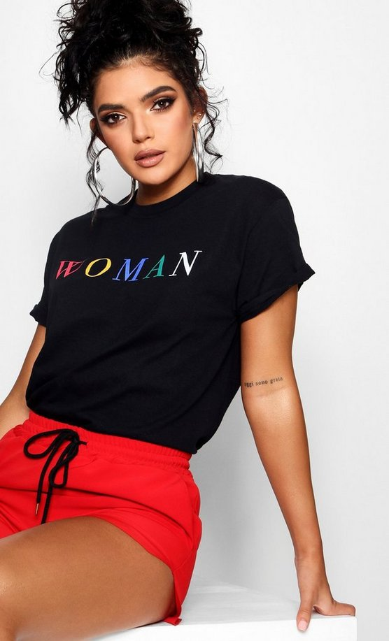 Woman Rainbow Slogan T-Shirt