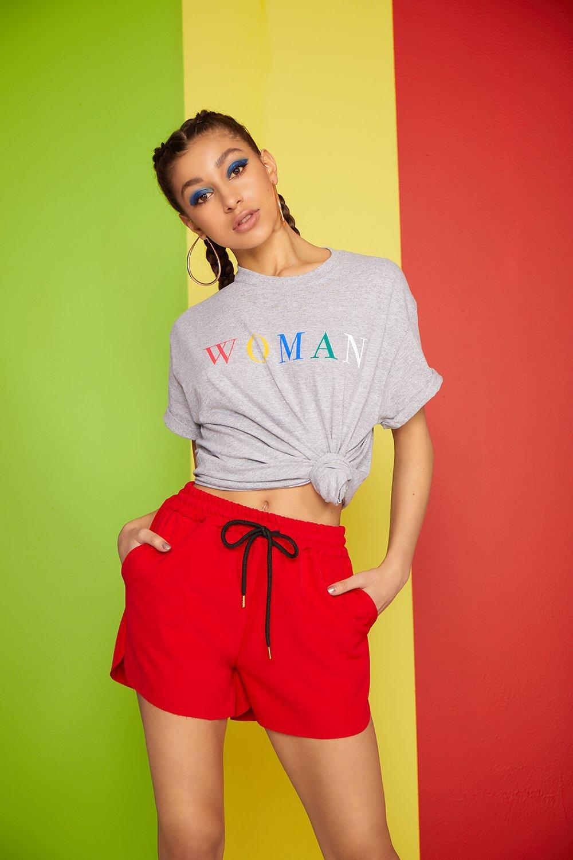 """Woman con arco eslogan eslogan Camiseta Camiseta con CRwxqY5q"