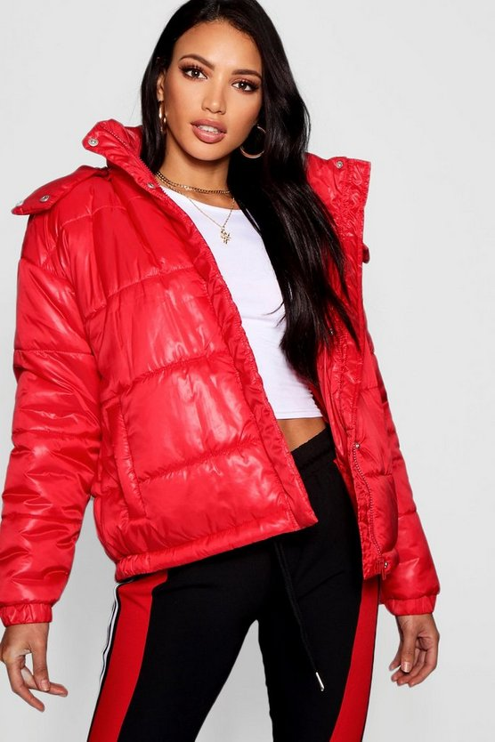 Red Hooded Cire Puffer Jacket