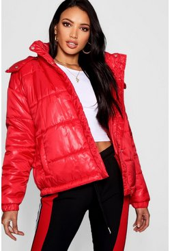 Womens Red Hooded Cire Puffer Jacket