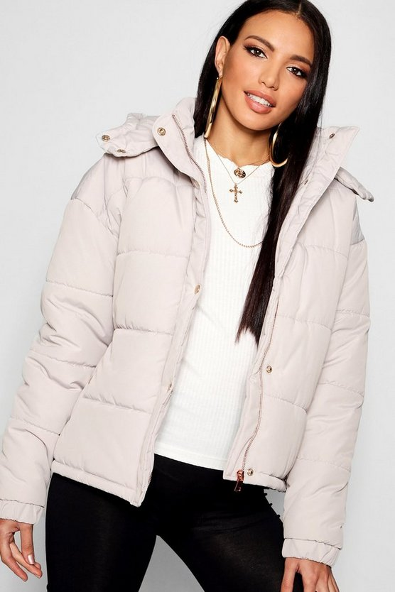 Rose Gold Trim Puffer Jacket