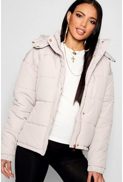 Womens Stone Rose Gold Trim Puffer Jacket