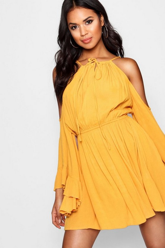 Mustard Cold Shoulder Angel Sleeve Shift Dress