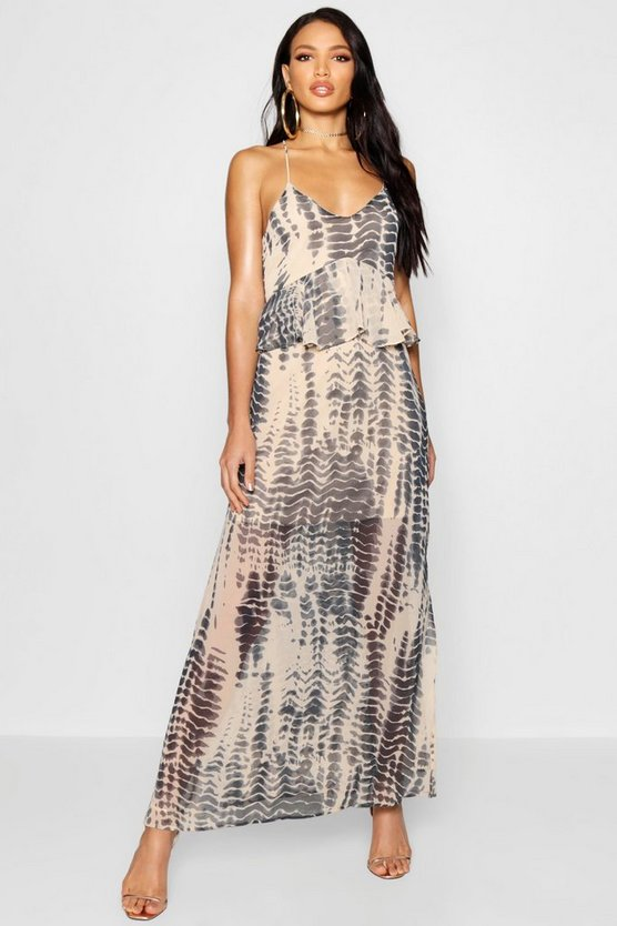 Larna Ruffle Lace Up Back Printed Maxi Dress
