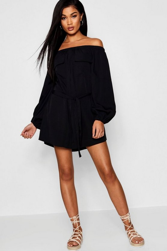 Off The Shoulder Safari Pocket Shift Dress