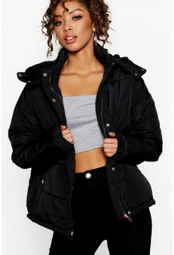 Womens Black Rose Gold Trim Puffer Jacket