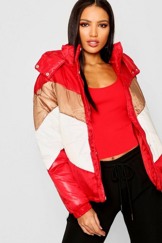 Red Panelled Cire Puffer Jacket