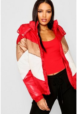 Womens Red Panelled Cire Puffer Jacket