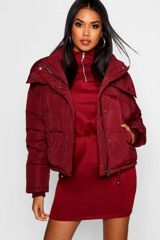 Womens Wine Crop Funnel Neck Puffer