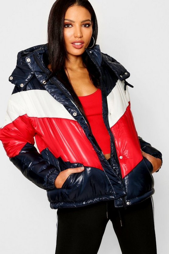 Womens Navy Panelled Cire Puffer Jacket