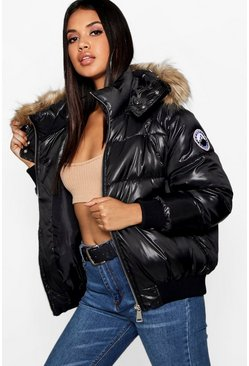 Womens Black Faux Fur Trim Cire Puffer Jacket