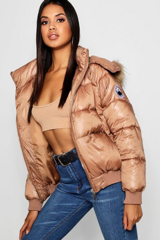 Womens Cognac Faux Fur Trim Cire Puffer Jacket