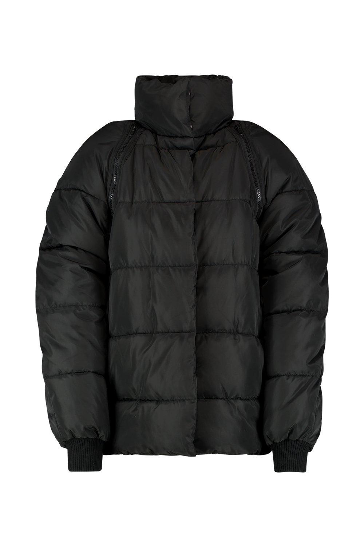Chaqueta mangas negro inflada con cierre con OOx74q