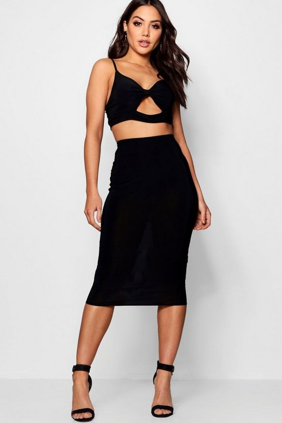 Bow Cami Slinky Skirt Co-ord Set