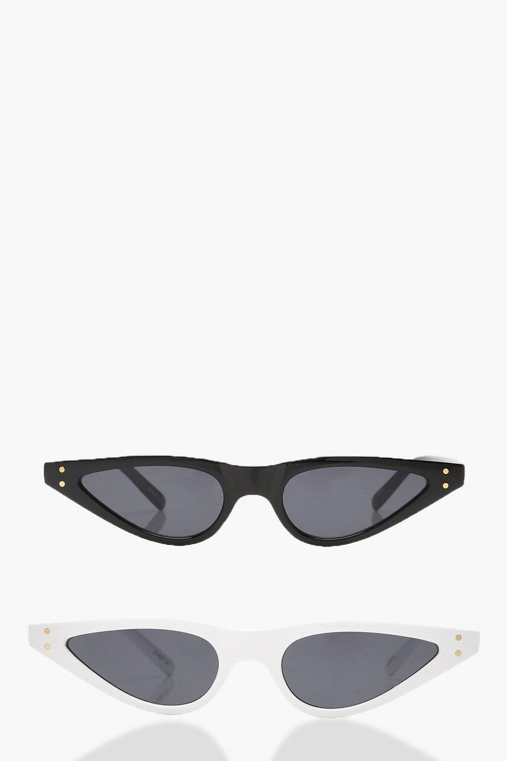 a2bfe66a07b 2 Pack Skinny Cat Eye Sunglasses