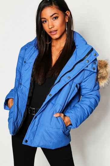 Womens Cobalt Faux Fur Trim Technical Puffer