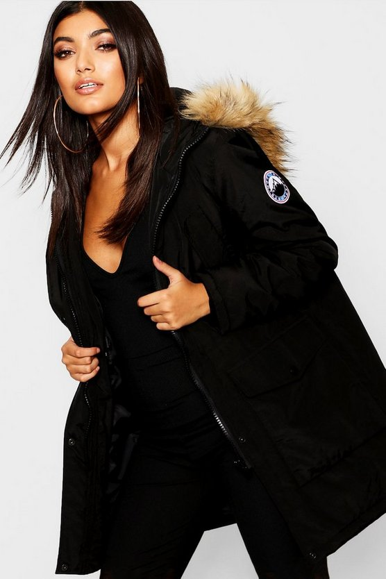 Black Luxe Faux Fur Sporty Parka