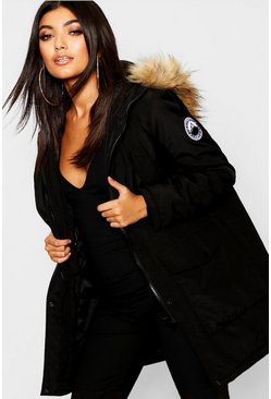 Womens Black Luxe Faux Fur Sporty Parka