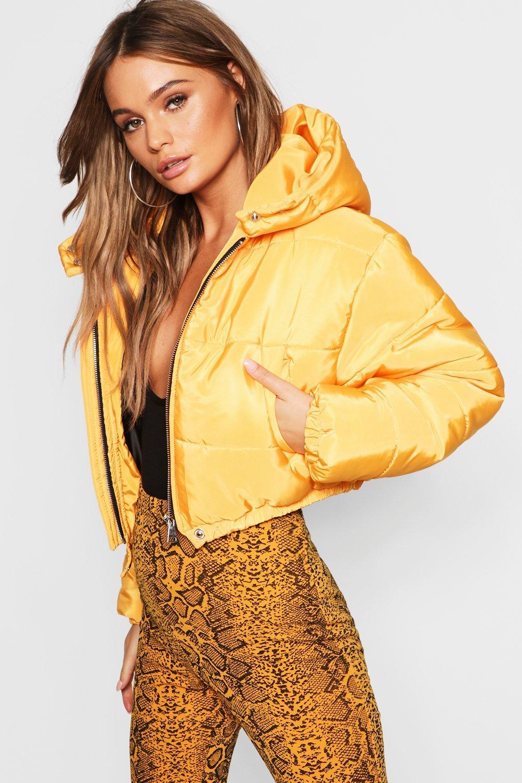 inflada amarillo corta capucha Chaqueta con U0qRwIxd