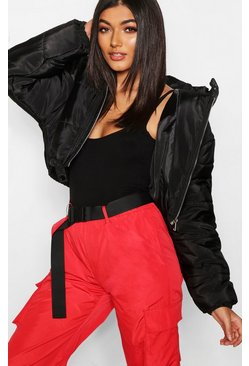 Womens Black Crop Hooded Puffer Jacket