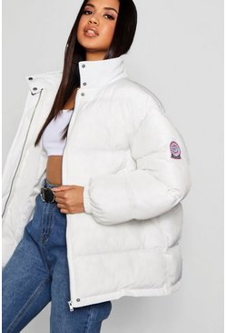 Womens White Sporty Puffer Jacket