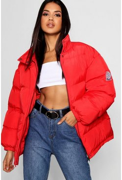 Womens Red Sporty Puffer Jacket