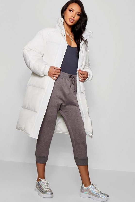 Womens White Longline Puffer Jacket