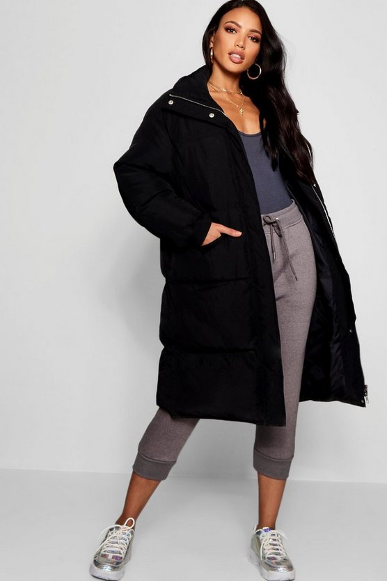 Womens Black Longline Puffer Jacket