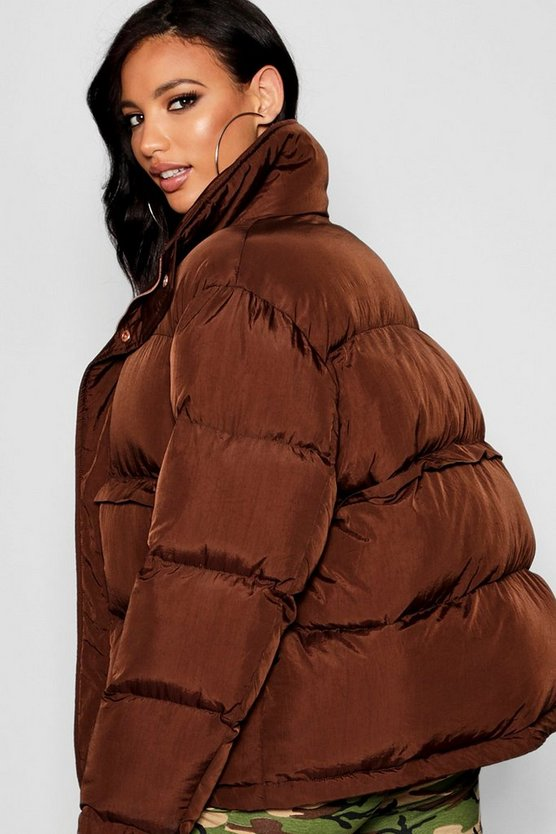Chocolate Funnel Neck Puffer Jacket
