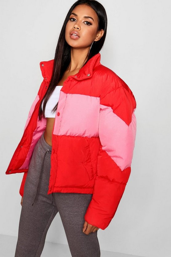 Womens Red Colour Block Puffer Jacket