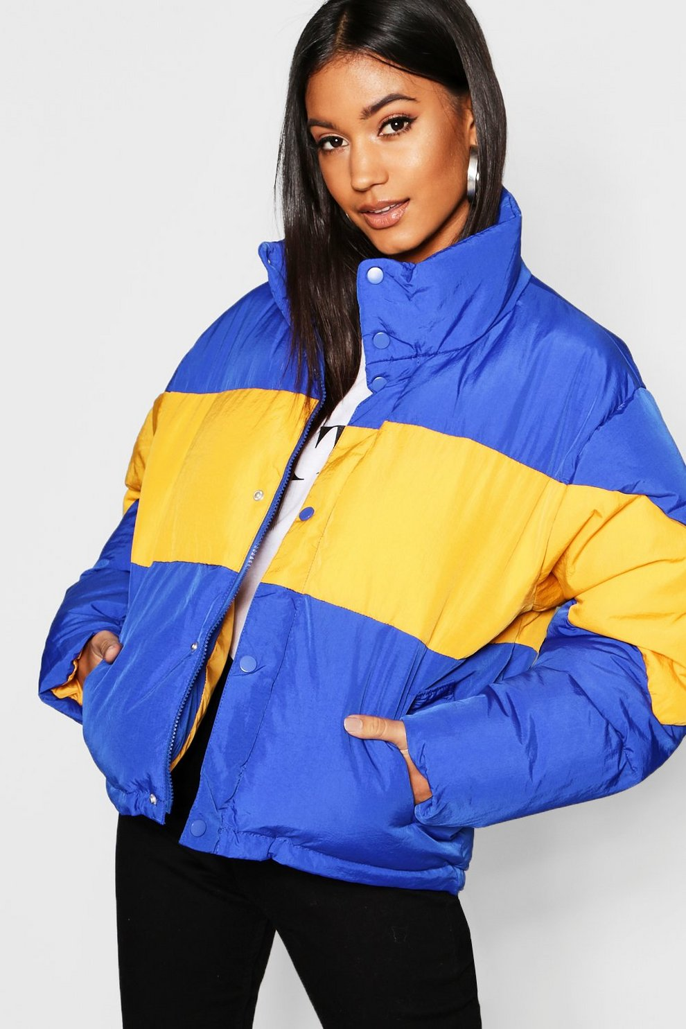 ea59cfb158a9 Colour Block Puffer Jacket
