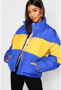 Womens Lapis Colour Block Puffer Jacket