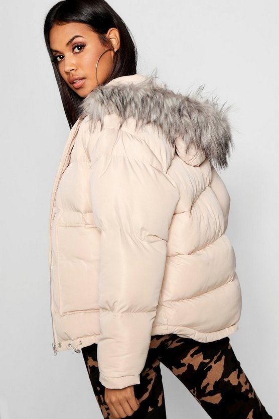 Womens Eggshell Faux Fur Trim Puffer Jacket