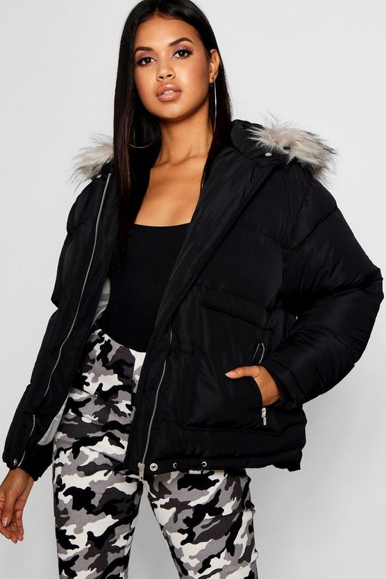 Womens Black Faux Fur Trim Puffer Jacket