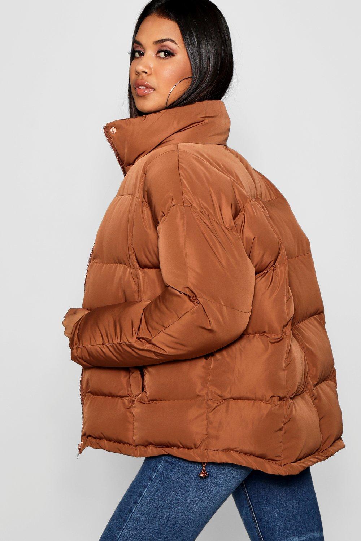 Chaqueta con coñac cuello alzado inflada xwZ7ZXqCg