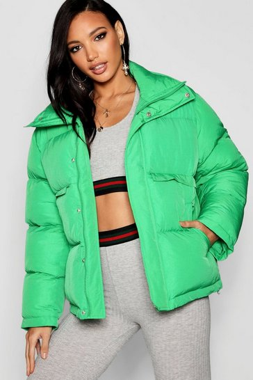 Womens Electric green Funnel Neck Puffer Jacket