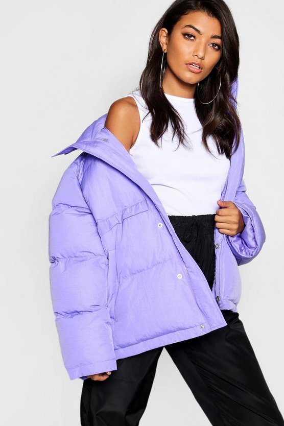 Womens Violet Funnel Neck Puffer Jacket