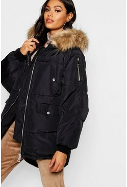 Womens Black Oversized Padded Jacket