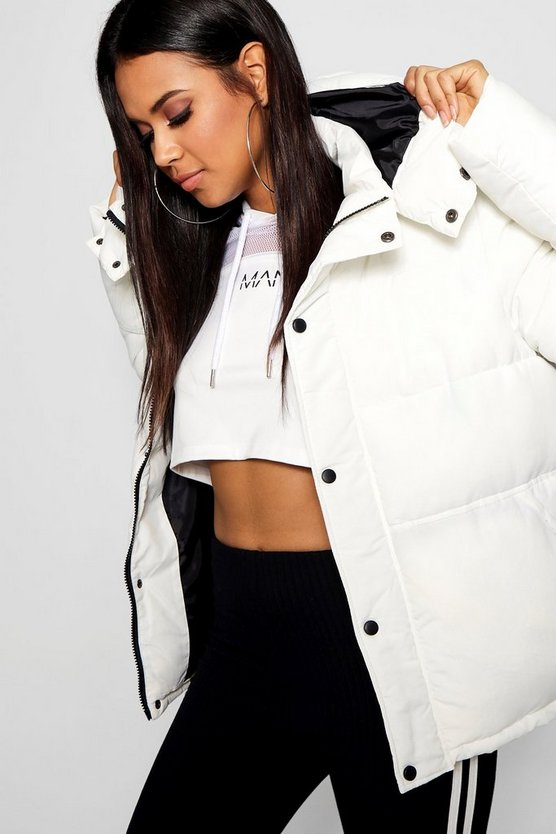 Womens White Sporty Padded Jacket
