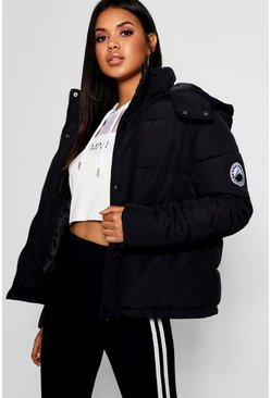 Womens Black Sporty Padded Jacket