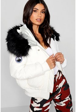 Womens White Black Faux Fur Hood Crop Puffer