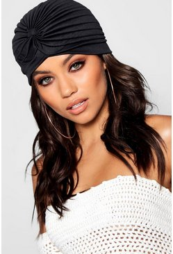 Womens Black Twist Knotted Hat