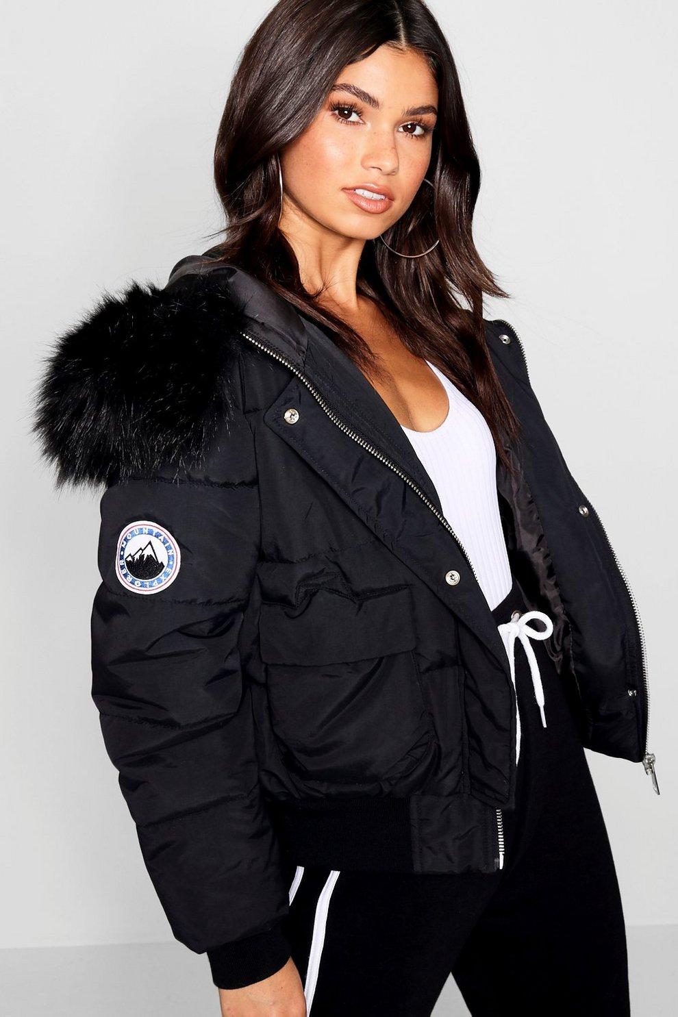 5c125e63a84 Black Faux Fur Hood Crop Puffer | Boohoo