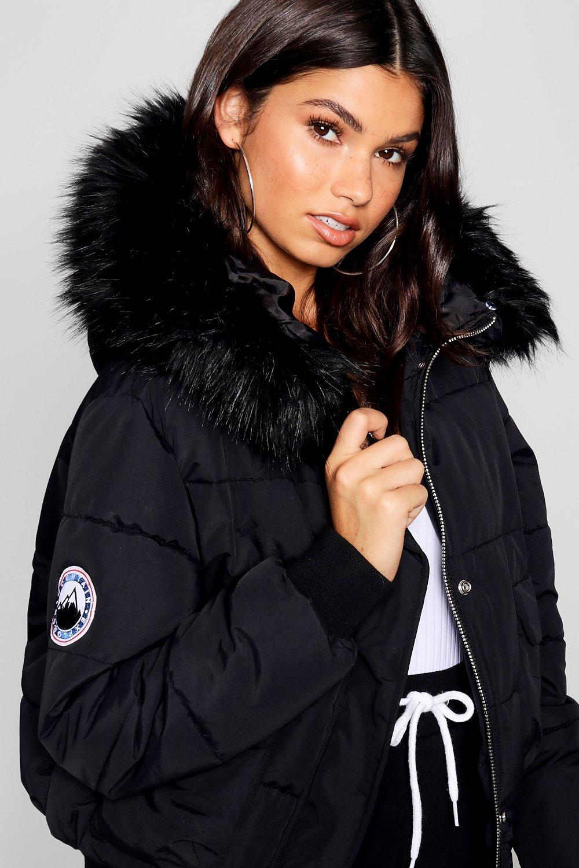 capucha con inflada corto negro piel negra Top de imitación de xUwtfnqEB