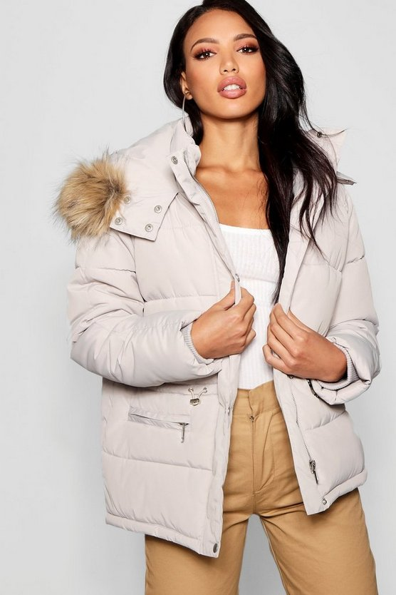 Pull In Waist Puffer Jacket