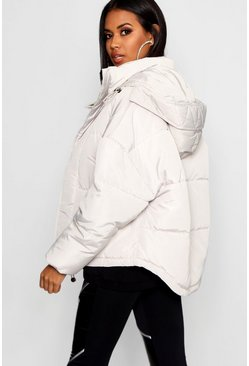 Womens Grey Oversized Hooded Puffer Jacket