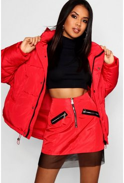Womens Red Oversized Hooded Puffer Jacket