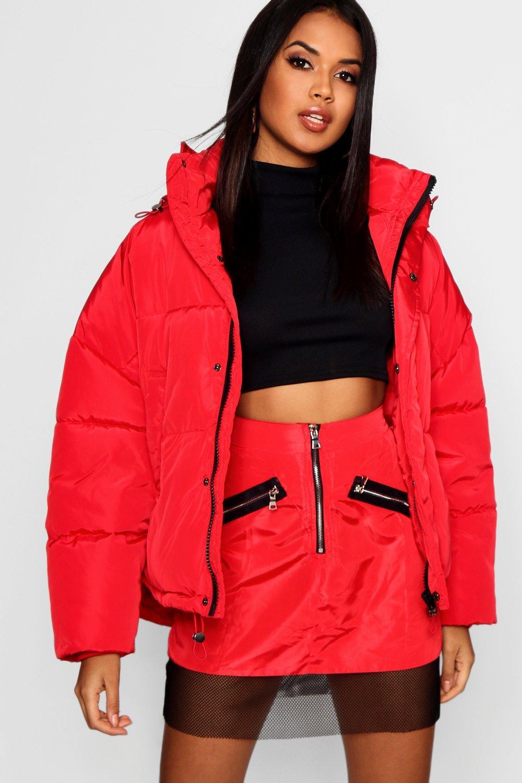 rojo capucha extra plumas grande Chaqueta de con 6CaxTqwnRY